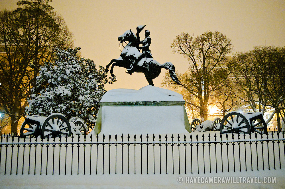 Clark Mills' equestrian statue of President Andrew Jackson, erected in 1853, standing in Lafayette Park immediately across from the White House