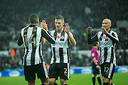 Newcastle United midfielder Isaac Hayden (#14) is congratulated for assisting the second Newcastle United goal scored by Newcastle United midfielder Yoan Gouffran (#20) by Newcastle United defender Ciaran Clark (#2) and Newcastle United midfielder Jonjo Shelvey (#12) during the EFL Sky Bet Championship match between Newcastle United and Cardiff City at St. James's Park, Newcastle, England on 5 November 2016. Photo by Craig Doyle.