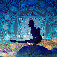 Blue yogini balancing in a blue mandala. <br />