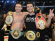 Vitali Klitschko celebrates regaining the WBC heavyweight crown with his brother Wladimir Klitschko after an impressive TKO win over Samuel Peter. Berlin, Germany, 11/10/2008..
