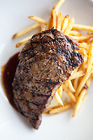 Rib Eye Steak with Frites photographed at The Block in St. Louis, Missouri