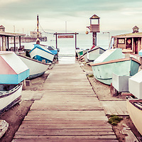 Newport Beach Dory Fishing Fleet panorama photo with vintage retro beach tone. Dory Fishing Fleet is a historic landmark in Newport Beach California on Balboa Peninsula in Orange County. Panoramic photo ratio is 1:3.