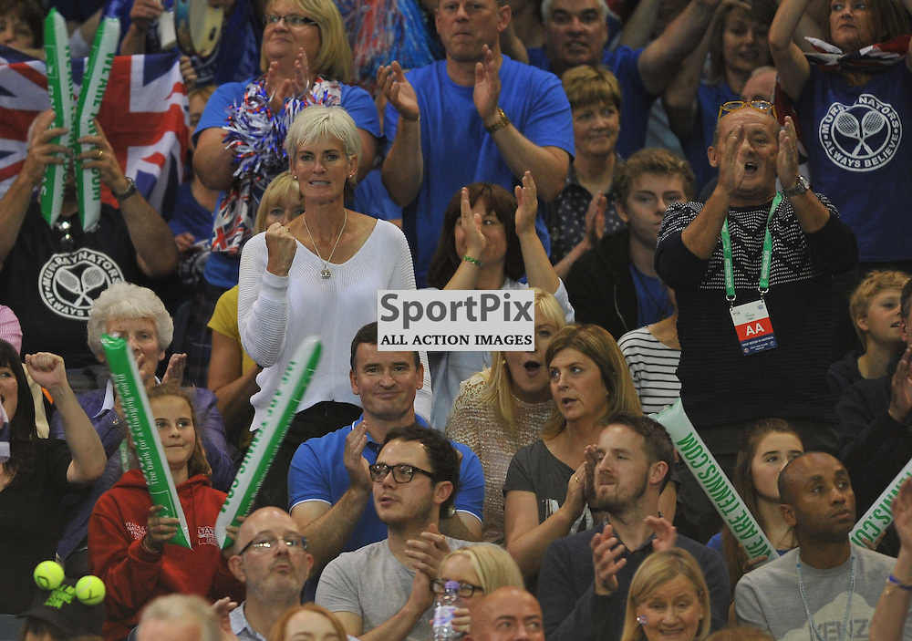 Judy Murray celebrates as Andy Murray wins the 4th rubber between Great Britain v Australia, Semi Finals,  Aegeon Davis Cup by BNP Paribas, Sunday 20 September 2015 (c) Angie Isac | SportPix.org.uk