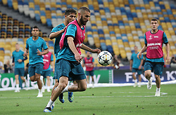 May 25, 2018 - Kiev, Ukraine - Real Madrid's Karim Benzema controls the ball during a training session at the Olimpiyskiy Stadium in Kiev. Ukraine, Friday, May 25, 2018 Tomorrow will be the final match of the Champions League between Real Madrid and Liverpool at the Olympic Stadium in Kiev. (Credit Image: © Danil Shamkin/NurPhoto via ZUMA Press)