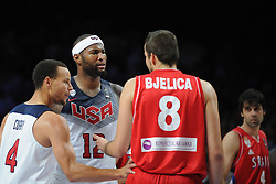 Stephen Curry, DeMarcus Cousins of USA and Nemanja Bjelica of Serbia during the 2014 FIBA World Basketball Championship Final match between USA and Serbia at the Palacio de los Deportes, on September 14, 2014 in Madrid, Spain. Photo by Tom Luksys  / Sportida.com <br /> ONLY FOR Slovenia, France