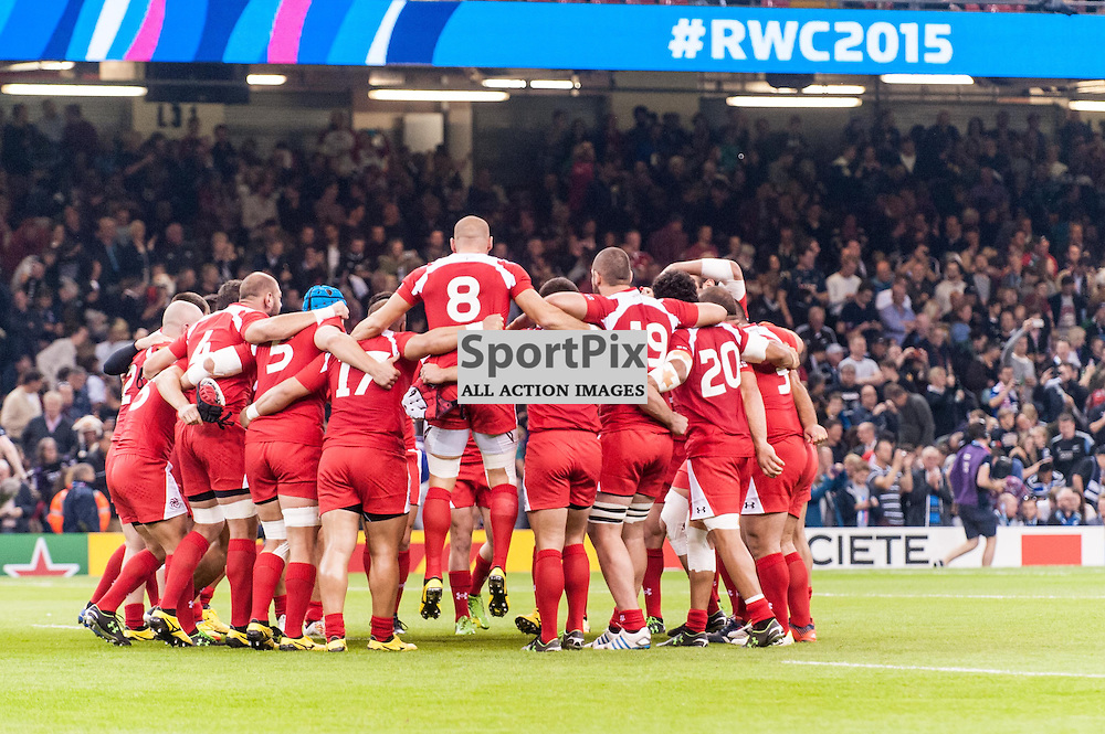 Georgia huddle before kick-off. Action from the New Zealand v Georgia game in Pool C of the 2015 Rugby World Cup at Milennium Stadium in Cardiff, 2 October 2015. (c) Paul J Roberts / Sportpix.org.uk
