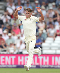 England's Sam Curran reacts as he bowls to Pakistan's Haris Sohail, during day one of the second Investec Test Match at Headingley Carnegie, Leeds.