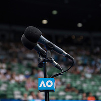 A general view of a microphone at Rod Laver Arena on day two of the 2017 Australian Open at Melbourne Park on January 17, 2017 in Melbourne, Australia.<br /> (Ben Solomon/Tennis Australia)