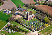 Nederland, Groningen, Gemeente Stadskanaal,  01-05-2013; Ontsweddde, Nicolaaskerk met Juffertoren en kerkhof. Nederlands Hervormd (Gereformeerde Bond).<br /> Village church (East Groningen).<br /> luchtfoto (toeslag op standard tarieven);<br /> aerial photo (additional fee required);<br /> copyright foto/photo Siebe Swart.