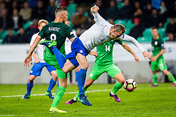 Jasmin Kurtic of Slovenia and Jan Durica of Slovakia during football match between National teams of Slovenia and Slovakia in Round #2 of FIFA World Cup Russia 2018 qualifications in Group F, on October 8, 2016 in SRC Stozice, Ljubljana, Slovenia. Photo by Ziga Zupan / Sportida
