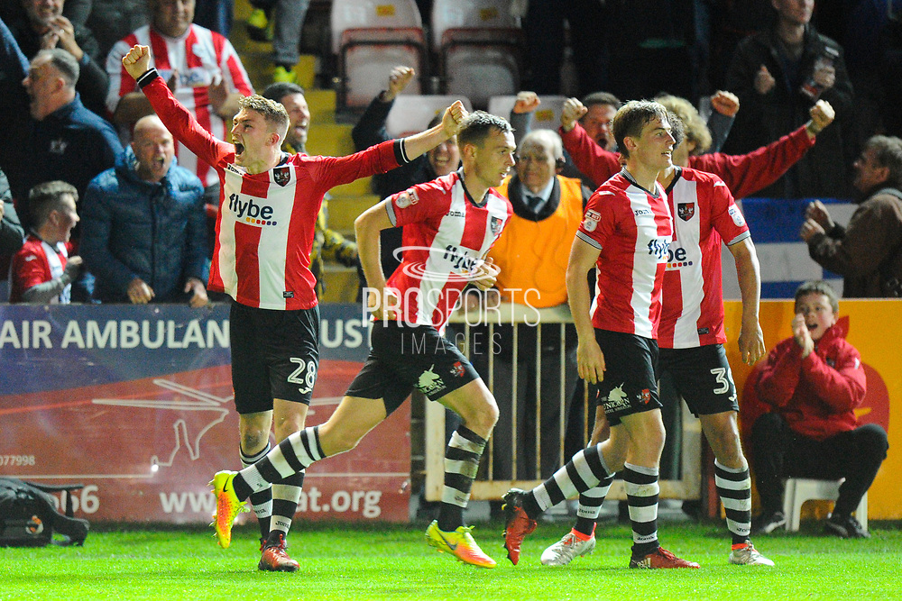 Jack Stacey (28) of Exeter City celebrates scoring a goal to make the score 3-2 during the EFL Sky Bet League 2 play off second leg match between Exeter City and Carlisle United at St James' Park, Exeter, England on 18 May 2017. Photo by Graham Hunt.