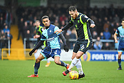 Carlisle United Defender Tom Parkes (6) and Wycombe Wanderers Forward Paris Cowan-Hall (12) battle for the ball during the EFL Sky Bet League 2 match between Wycombe Wanderers and Carlisle United at Adams Park, High Wycombe, England on 3 February 2018. Picture by Stephen Wright.