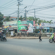 A big street billboard of the radicalist political party of FPI which is trying to reduce the freedom of religion in the country