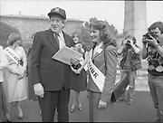 An Taoiseach Meets The Roses Of Tralee.  (N90)..1981..28.08.1981..08.28.1981..28th August 1981..An Taoiseach, Garret Fitzgerald, met with the contestants of The Rose Of Tralee Festival when they were invited to Government Buildings, Leinster House, Dublin...An Taoiseach, Garret Fitzgerald, is pictured with Cork Rose, Nuala O'Sullivan, in the garden of Government Buildings.