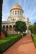 Haifa, Israel, Bahai Shrine of the Bab and the surrounding gardens.
