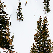 Jim Ryan skiing into the Teton backcountry from JHMR.