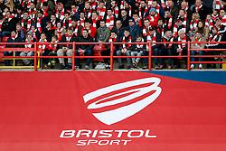 Bristol Sport branding in front of the Bristol City fans - Photo mandatory by-line: Rogan Thomson/JMP - 07966 386802 - 25/01/2015 - SPORT - FOOTBALL - Bristol, England - Ashton Gate Stadium - Bristol City v West Ham United - FA Cup Fourth Round Proper.