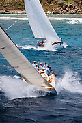 Janley sailing in the Antigua Classic Yacht Regatta, Butterfly Race.