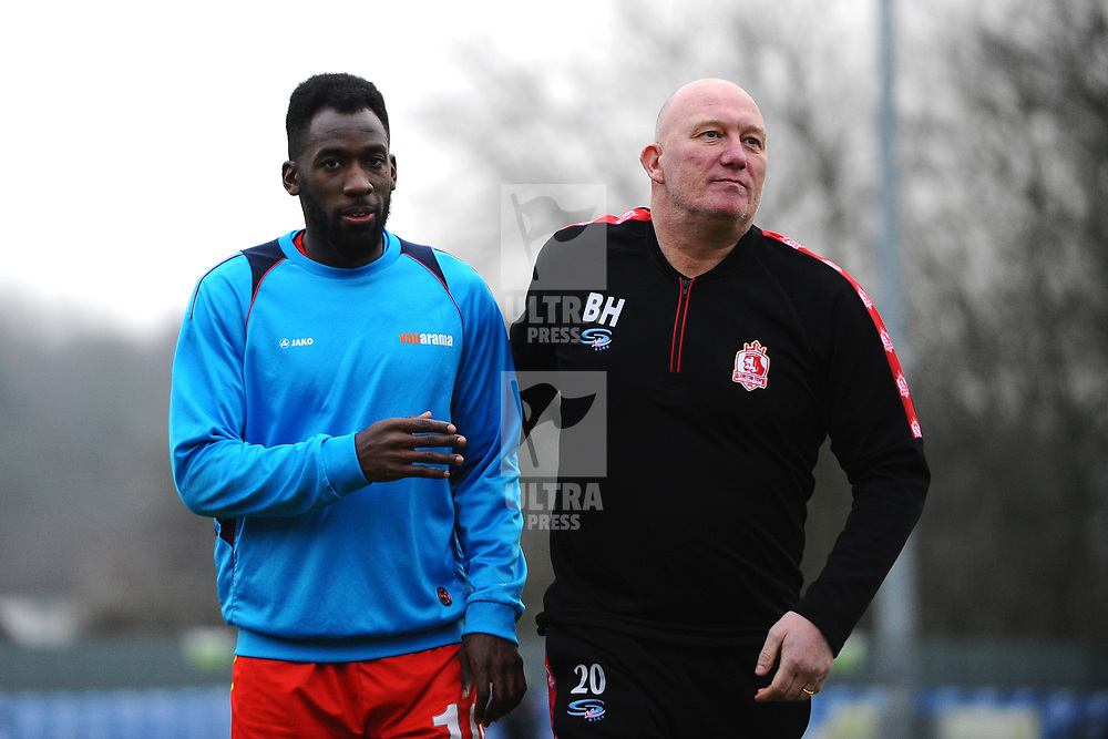 TELFORD COPYRIGHT MIKE SHERIDAN Amari Morgan Smith of Alfreton (formerly of AFC Telford) with Alfreton boss Billy Heath during the Vanarama Conference North fixture between AFC Telford United and Alfreton Town at The Impact Arena on Wednesday, January 1, 2020.<br /> <br /> Picture credit: Mike Sheridan/Ultrapress<br /> <br /> MS201920-038