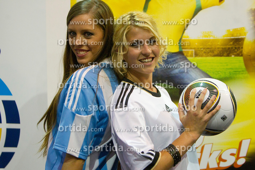 Miss Argentina Mae Screlkove and Miss Germany Maike Frohlingsdorf as Miss World contestants from the quarter finals FIFA World Cup 2010 at AIPS glamour event on June 30, 2010 at Nelson Mandela Square in Sandton Convention Centre in Johannesburg. (Photo by Vid Ponikvar / Sportida)