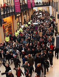 ©under licence to London News Pictures. 30/11/2010.  Students March through the largest shopping centre in Cambridge the Grand Arcade disrupting christmas shoppers during demonstrations against planned increases to tuition fees . Photo credit should read Jason Patel/London News Pictures