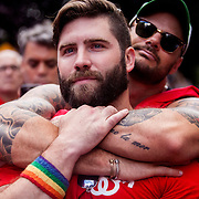 NEW YORK, N.Y. - JUNE 26, 2015: Eric Hammond of Bushwick is embraced by Mark Armstrong Peddigrew of Chelsea outside of Stonewall Inn after the United States Supreme Court ruled that the Constitution guarantees a nationwide right to same-sex marriage. CREDIT: Sam Hodgson for The New York Times