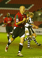 Photo: Aidan Ellis.<br /> Darlington v Swansea City. The FA Cup. 02/12/2006.<br /> Swansea's Andy Robinson celebrates his goal and sides second