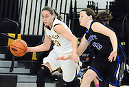 Central Buck's West's Tori Abelson #23 dribbles the ball up court as Kennett's Alexa Hussey #41 defends in the first quarter Saturday February 13, 2016 at Central Bucks West High School in Doylestown, Pennsylvania. Central Bucks West won 53-38. (Photo by William Thomas Cain)