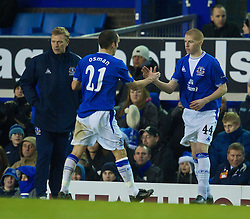 LIVERPOOL, ENGLAND - Thursday, December 17, 2009: Everton's Nathan Craig replaces Leon Osman to make his debut during the UEFA Europa League Group I match against FC BATE Borisov at Goodison Park. (Pic by David Rawcliffe/Propaganda)