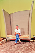 Hotel owner and Studio 54 founder Ian Schrager sits in a winged, throne-like chair in the Philippe Starck-decorated lobby of Scharger's Delano Hotel on June 28, 1995, the day before the newly renovated hotel opened to the public.<br />