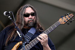 30 April 2015. New Orleans, Louisiana.<br /> The New Orleans Jazz and Heritage Festival. <br /> Dave Schools of Widespread Panic on the Acura stage.<br /> Photo; Charlie Varley/varleypix.com