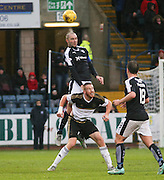 Dundee&rsquo;s James McPake rises above Aberdeen&rsquo;s Adam Rooney to head clear  - Dundee v Aberdeen, Ladbrokes Scottish Premiership at Dens Park<br /> <br />  - &copy; David Young - www.davidyoungphoto.co.uk - email: davidyoungphoto@gmail.com