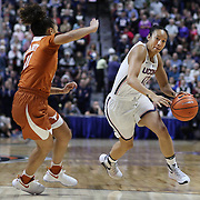UNCASVILLE, CONNECTICUT- DECEMBER 4: Saniya Chong #12 of the Connecticut Huskies drives to the basket defended by Brooke McCarty #11 of the Texas Longhorns during the UConn Huskies Vs Texas Longhorns, NCAA Women's Basketball game in the Jimmy V Classic on December 4th, 2016 at the Mohegan Sun Arena, Uncasville, Connecticut. (Photo by Tim Clayton/Corbis via Getty Images)