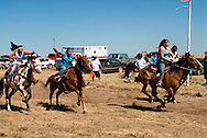 Fort Belknap Indian Reservation, Montana, Milk River Memorial Horse Races, Womens Two Mile Race, start.