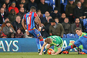Crystal Palace forward Wilfried Zaha tangles with Sunderland midfielder Sebastian Larsson during the Barclays Premier League match between Crystal Palace and Sunderland at Selhurst Park, London, England on 23 November 2015. Photo by Simon Davies.