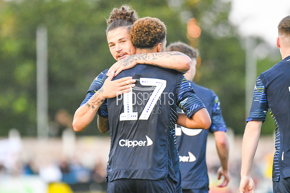 Leeds United midfielder Helder Costa (17) scores a goal and celebrates with Leeds United midfielder Kalvin Phillips (2)  to make the score 1-1 during the Pre-Season Friendly match between Guiseley  and Leeds United at Nethermoor Park, Guiseley, United Kingdom on 11 July 2019.