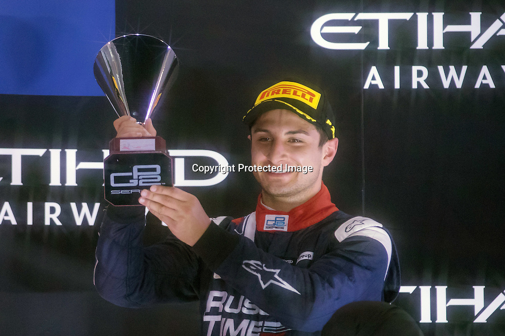 Mitch Evans (NZL) celebrates his 3rd place in the Feature race of the 2015 GP2 Abu Dhabi Grand Prix on 28 November 2015. Copyright photo: Paolo Pellegrini / www.photosport.nz