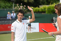 Kei Nishikori. Kei Nishikori v Kevin Anderson,  Aspall Tennis Classic, Hurlingham Club, London 28th June 2018.