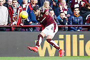 Hearts FC Defender Callum Paterson gets the cross into the box during the Ladbrokes Scottish Premiership match between Heart of Midlothian and Ross County at Tynecastle Stadium, Gorgie, Scotland on 24 October 2015. Photo by Craig McAllister.