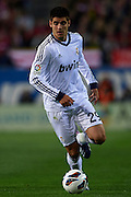 MADRID, SPAIN - APRIL 27: Alvaro Morata of Real Madrid CF in action during the Liga BBVA between Club Atletico de Madrid and Real Madrid CF at the Vicente Calderon stadium on April 27, 2013 in Madrid, Spain. (Photo by Aitor Alcalde Colomer).