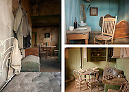 Photo collage featuring three interiors from the ghost town of Bodie, California.