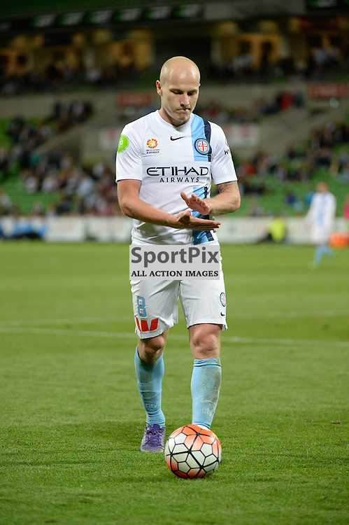 Aaron Mooy of Melbourne City prepares to take a corner in the Hyundai A-League, March 18th 2016, ROUND 24 - Melbourne City FC v Brisbane Roar FC in a 3:1 win to City after a slow first half at Aami Park, Melbourne Australia. © Mark Avellino | SportPix.org.uk