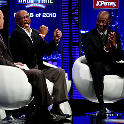 06 February, 2010: Rich Eisen talks with Floyd Little and Jerry Riceon stage after Little and Rice were announced as two of the newest Enhrinees into the Hall of Fame during a press conference for the Pro Football Hall of Fame Class of 2010 Enshrinees held at the Greater Ft. Lauderdale/Broward County Convention Center in Fort Lauderdale, Florida.