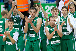 Jaka Lakovic of Slovenia, Mirza Begic of Slovenia, Samo Udrih of Slovenia, Zoran Dragic of Slovenia, Erazem Lorbek of Slovenia after the basketball game between National basketball teams of Spain and Slovenia at Quarterfinals of FIBA Europe Eurobasket Lithuania 2011, on September 14, 2011, in Arena Zalgirio, Kaunas, Lithuania. Spain defeated Slovenia 86-64. (Photo by Vid Ponikvar / Sportida)