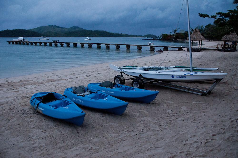 Boats at Dolphin Beach at Dusk, Turtle Island, Yasawa Islands, Fiji