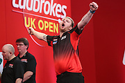 Cameron Menzies wins his first round match against Wes Newton and celebrates during the Ladrokes UK Open 2019 at Butlins Minehead, Minehead, United Kingdom on 1 March 2019.