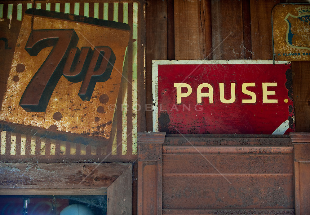 Vintage rusted signs