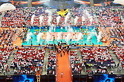 Poland, Warsaw - 2017 August 24: General view of the stadium while opening ceremony during LOTTO EUROVOLLEY POLAND 2017 - European Championships in volleyball at Stadion PGE Narodowy on August 24, 2017 in Warsaw, Poland.<br /> <br /> Mandatory credit:<br /> Photo by &copy; Adam Nurkiewicz<br /> <br /> Adam Nurkiewicz declares that he has no rights to the image of people at the photographs of his authorship.<br /> <br /> Picture also available in RAW (NEF) or TIFF format on special request.<br /> <br /> Any editorial, commercial or promotional use requires written permission from the author of image.