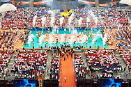 Poland, Warsaw - 2017 August 24: General view of the stadium while opening ceremony during LOTTO EUROVOLLEY POLAND 2017 - European Championships in volleyball at Stadion PGE Narodowy on August 24, 2017 in Warsaw, Poland.<br /> <br /> Mandatory credit:<br /> Photo by © Adam Nurkiewicz<br /> <br /> Adam Nurkiewicz declares that he has no rights to the image of people at the photographs of his authorship.<br /> <br /> Picture also available in RAW (NEF) or TIFF format on special request.<br /> <br /> Any editorial, commercial or promotional use requires written permission from the author of image.