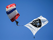Dec 3, 2017; Oakland, CA, USA; The Frog-X Parachute Team performs prior to an NFL game between the New York Giants and the Oakland Raiders at Oakland-Alameda County Coliseum.